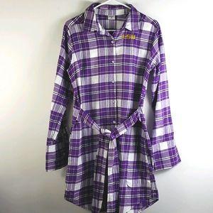 LSU Tigers ZooZatz Flannel Button-up Dress